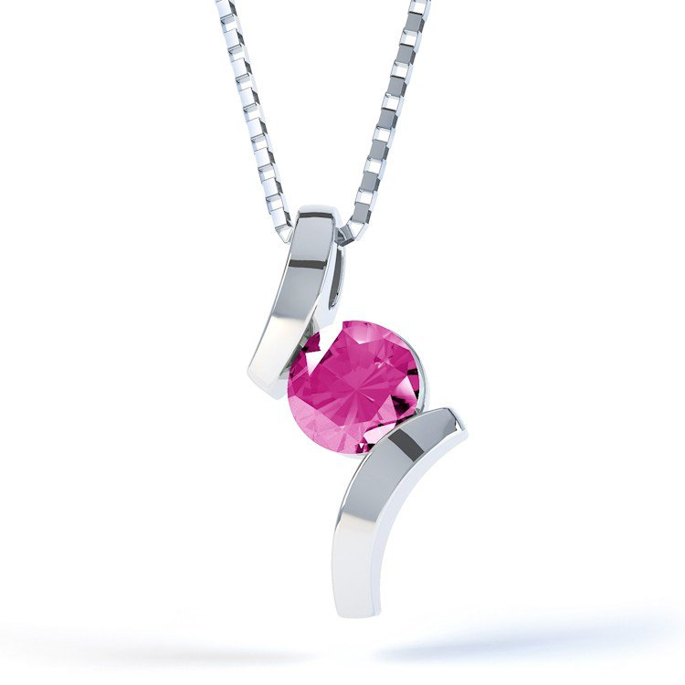 Combinations Pink Sapphire Round Silver Pendant