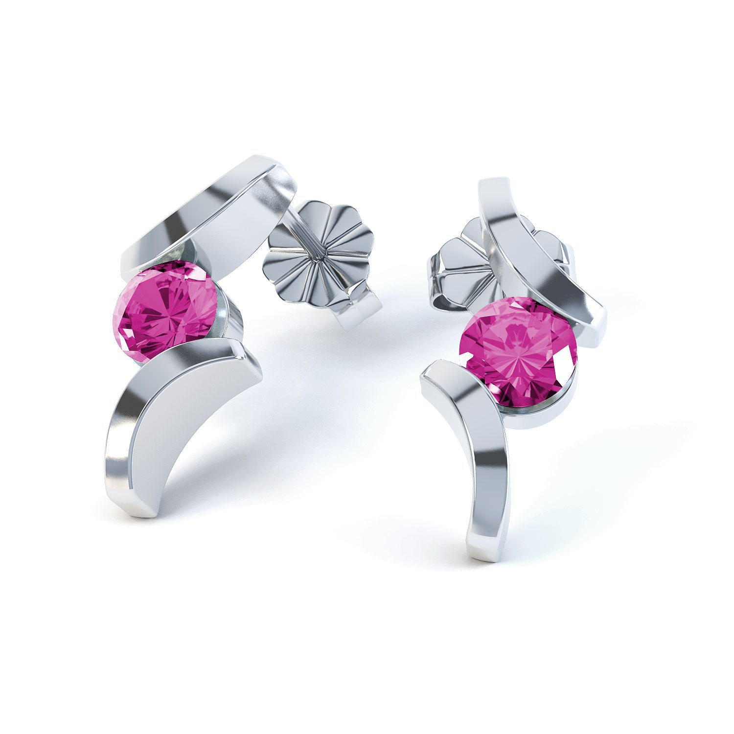Combinations Pink Sapphire Round 18ct White Gold Earrings