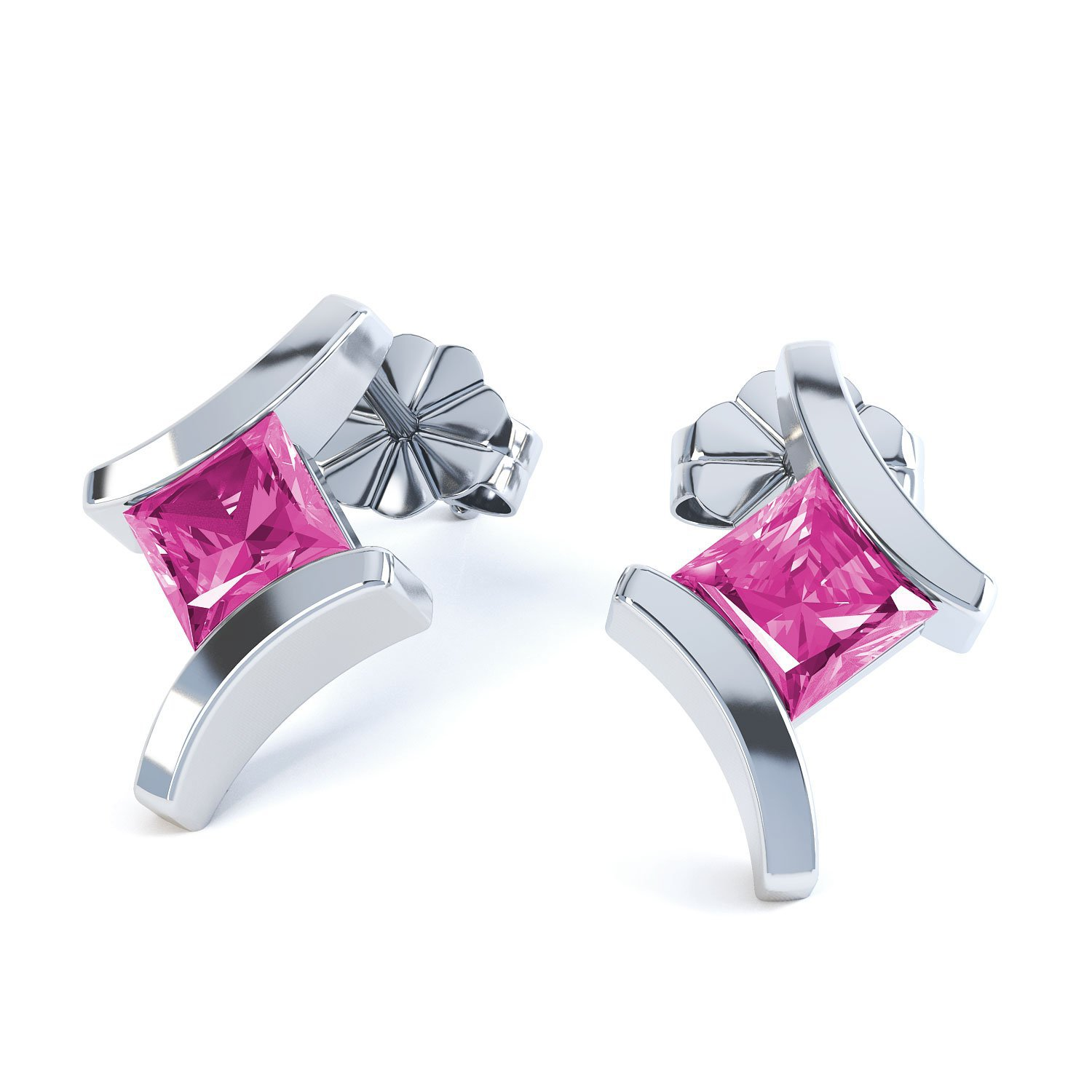 Combinations Pink Sapphire Square 18ct White Gold Earrings