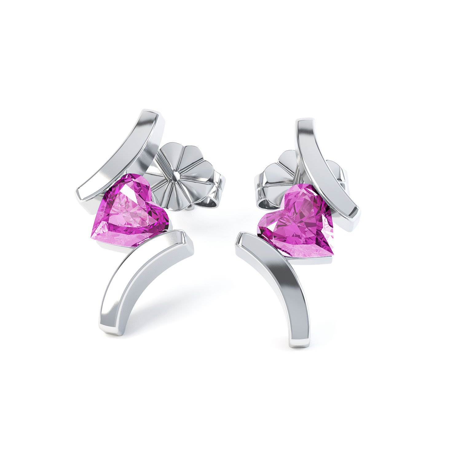 Combinations Pink Sapphire Heart 18ct White Gold Earrings