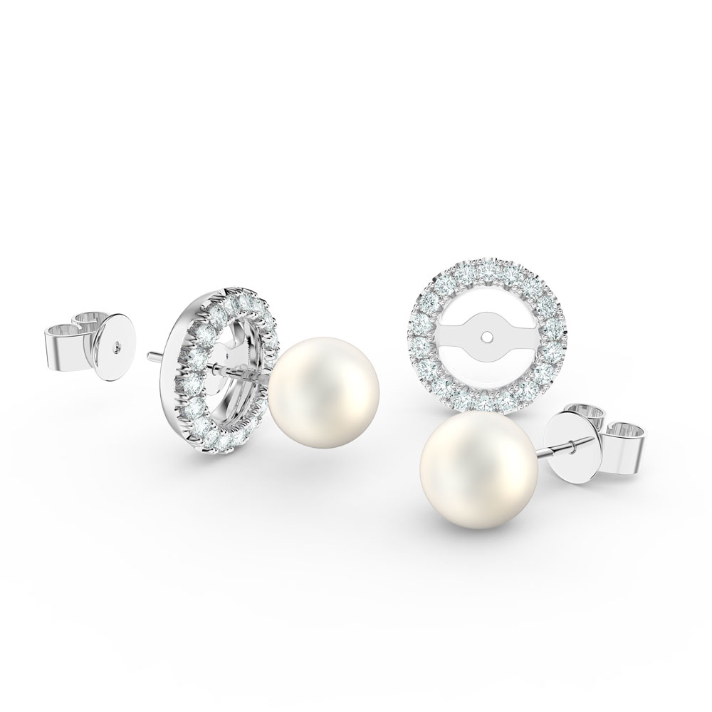 Fusion Pearl Platinum plated Silver Stud Earrings Halo Jacket Set