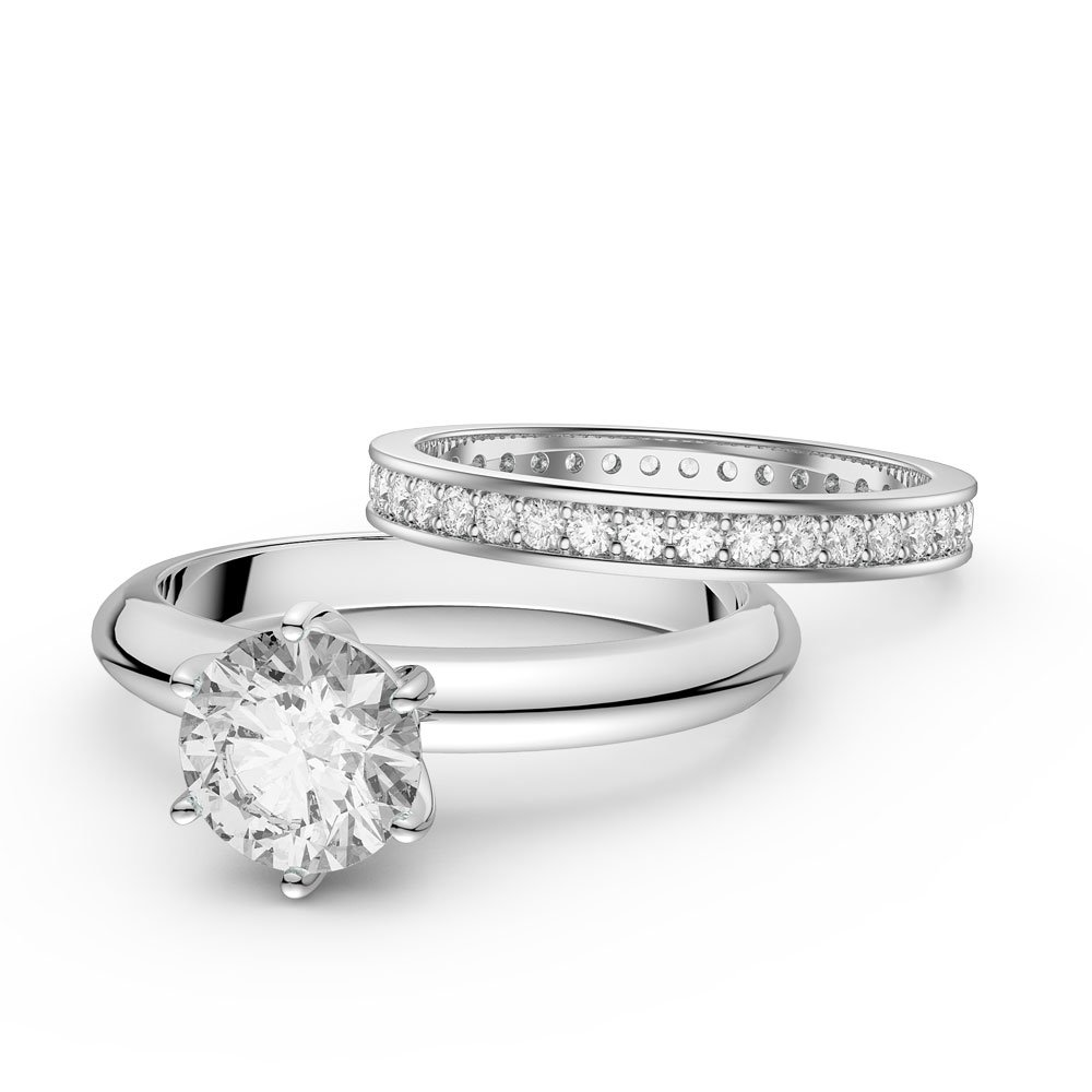 Unity 1ct White Sapphire Solitaire Platinum plated Silver Proposal Ring and Full Channel Eternity Ring Set
