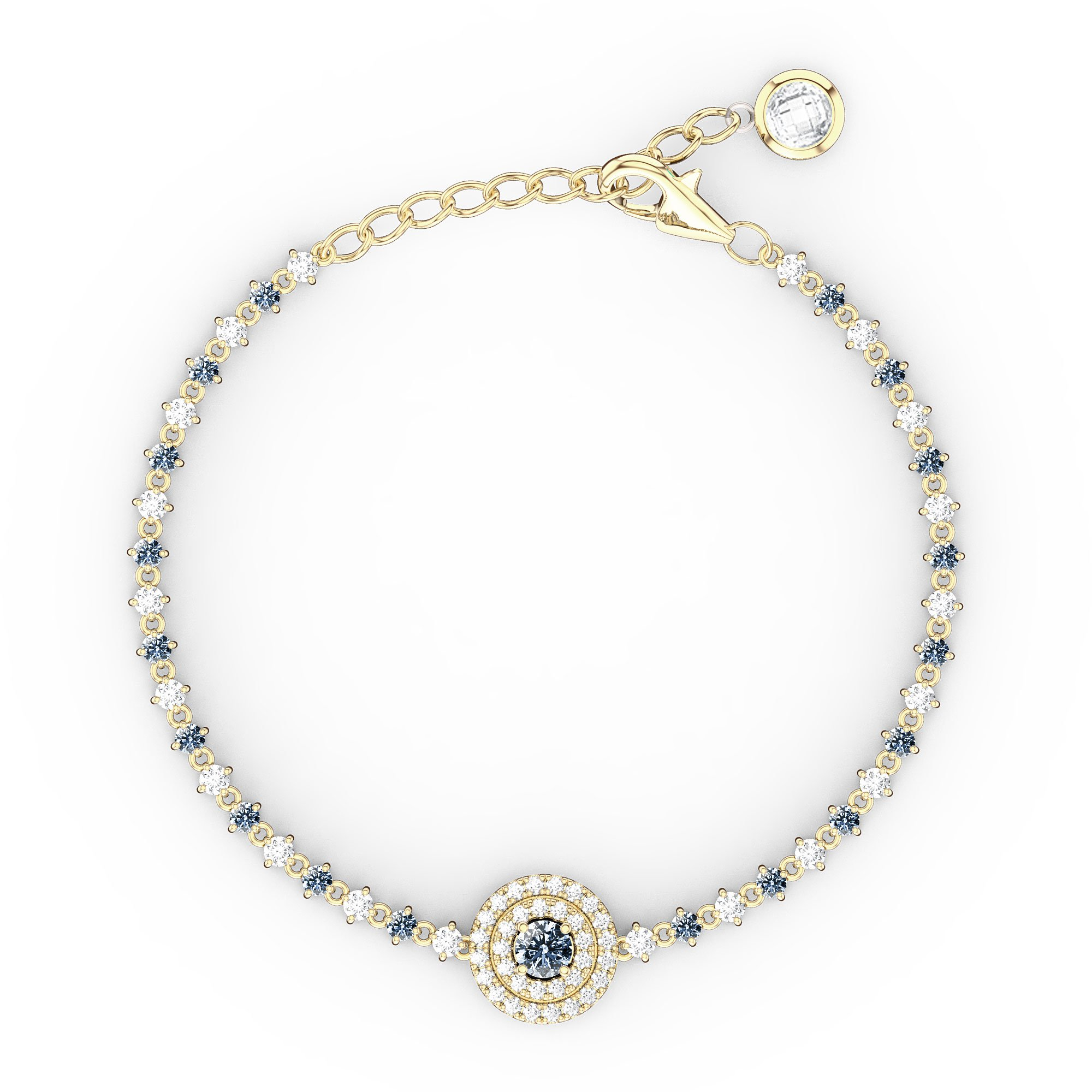 aquamarine yellow jian diamond bracelet and gold fusion tennis