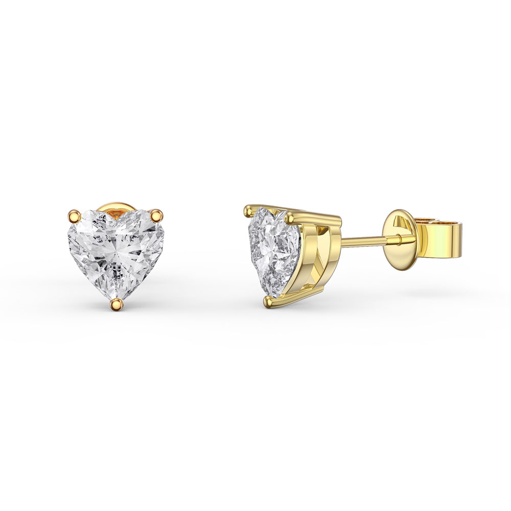 Charmisma 1ct White Sapphire Heart 18ct Gold Vermeil Stud Earrings