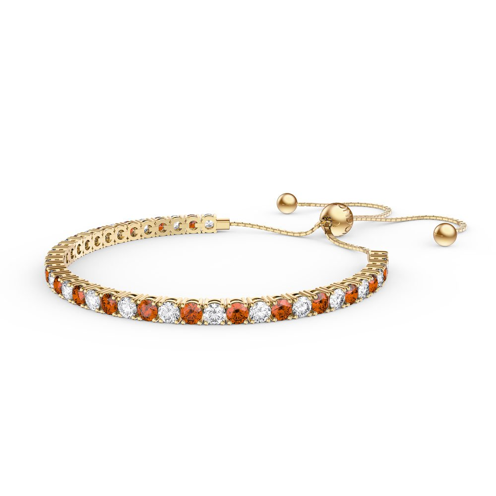 Eternity Garnet CZ 18ct Gold plated Silver Fiji Friendship Tennis Bracelet