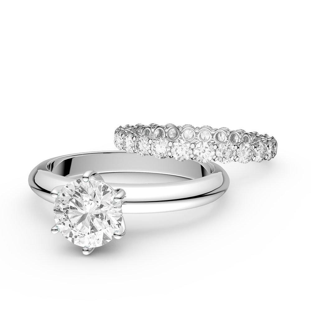 Wedding Ring Sets.Unity 2 5ct Diamond 18ct White Gold Full Eternity Wedding Ring Set