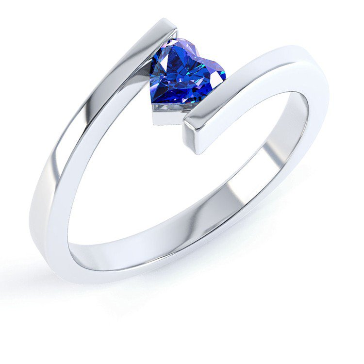 Combinations Blue Sapphire Heart Stacking Silver Ring