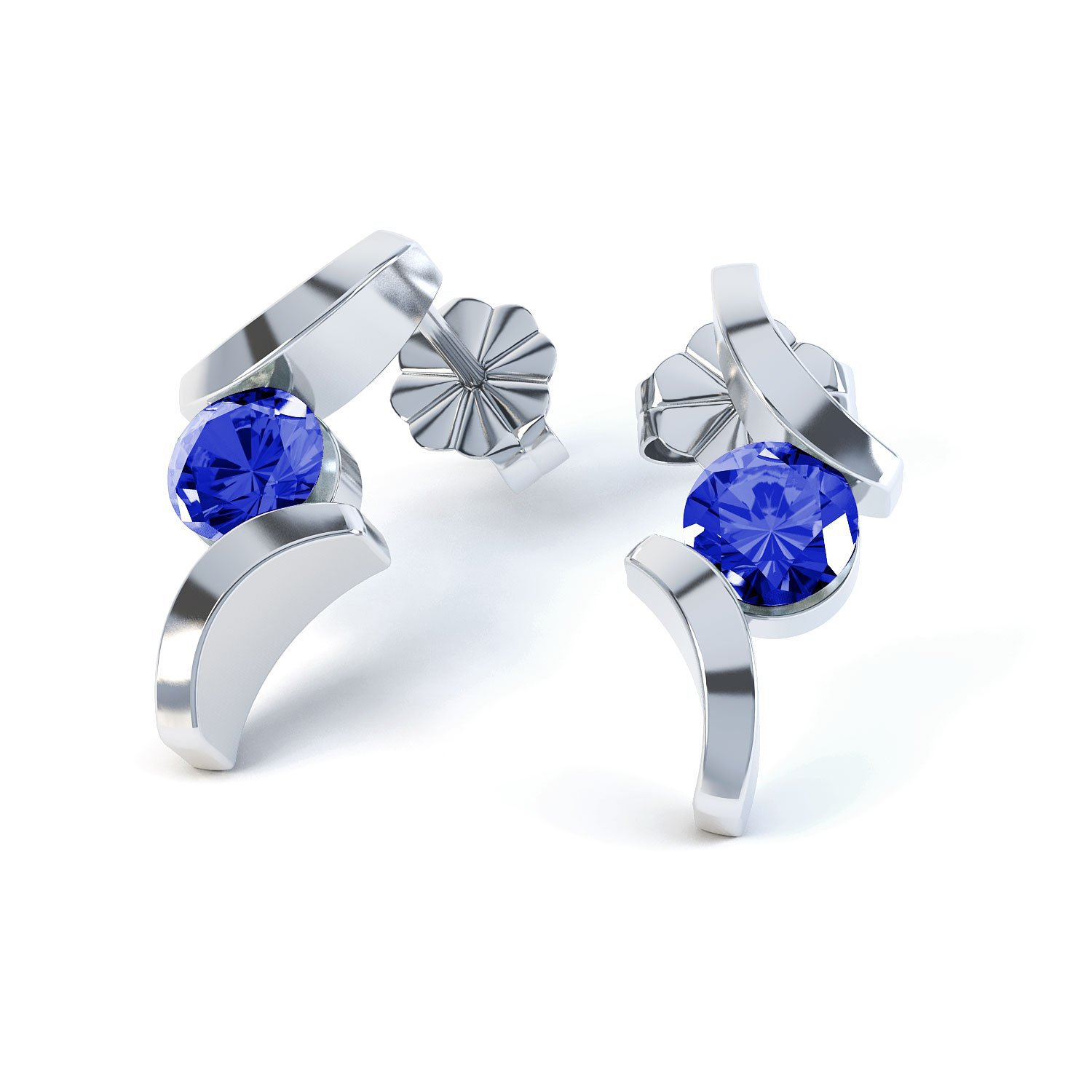 Combinations Blue Sapphire Round 18ct White Gold Earrings