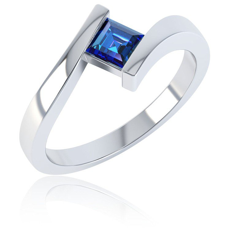 Combinations Blue Sapphire Square Silver Stacking Ring
