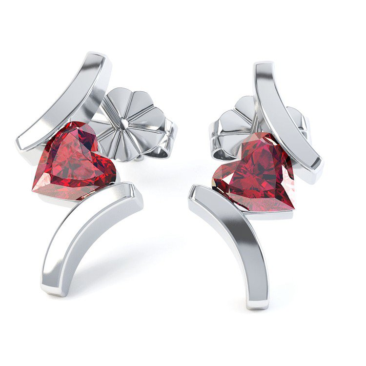 Combinations Ruby Heart 18ct White Gold Earrings