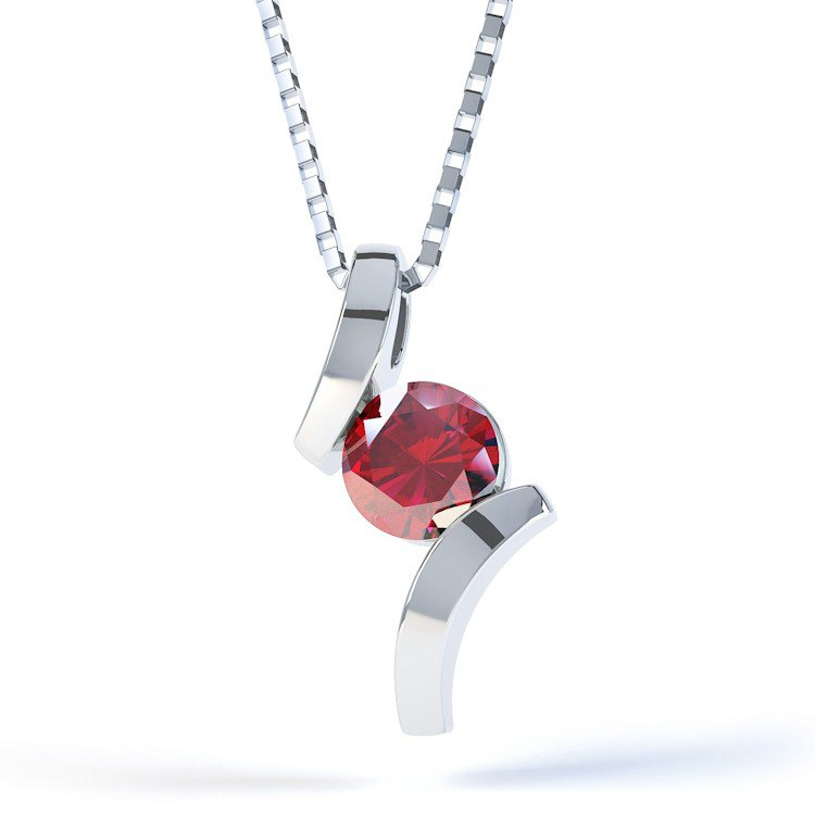 Combinations Ruby Round Silver Pendant
