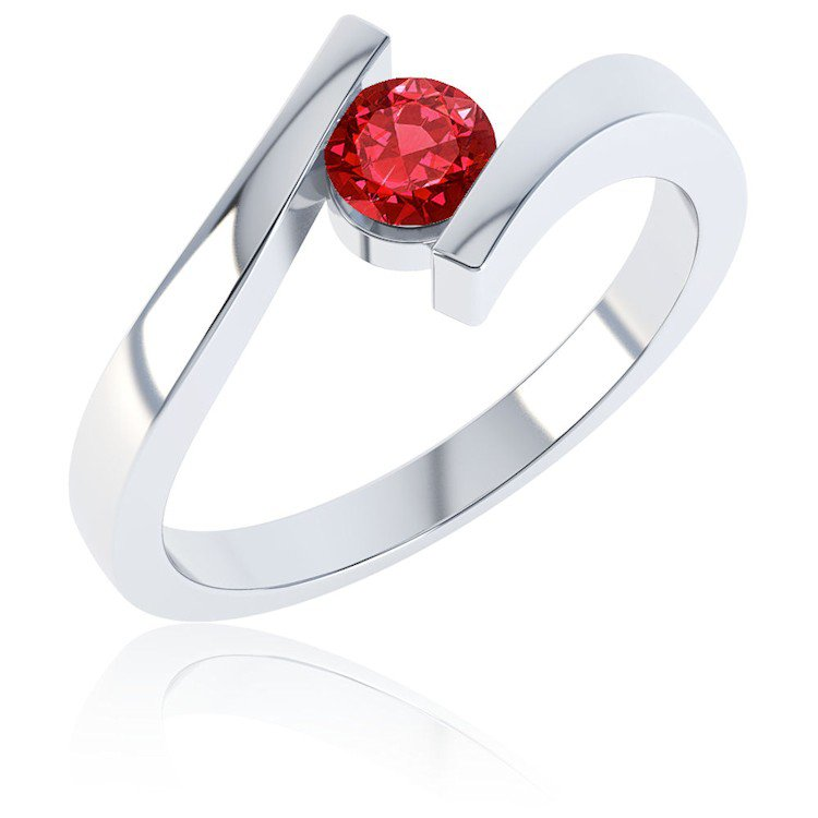 Combinations Ruby Round Stacking Silver Ring