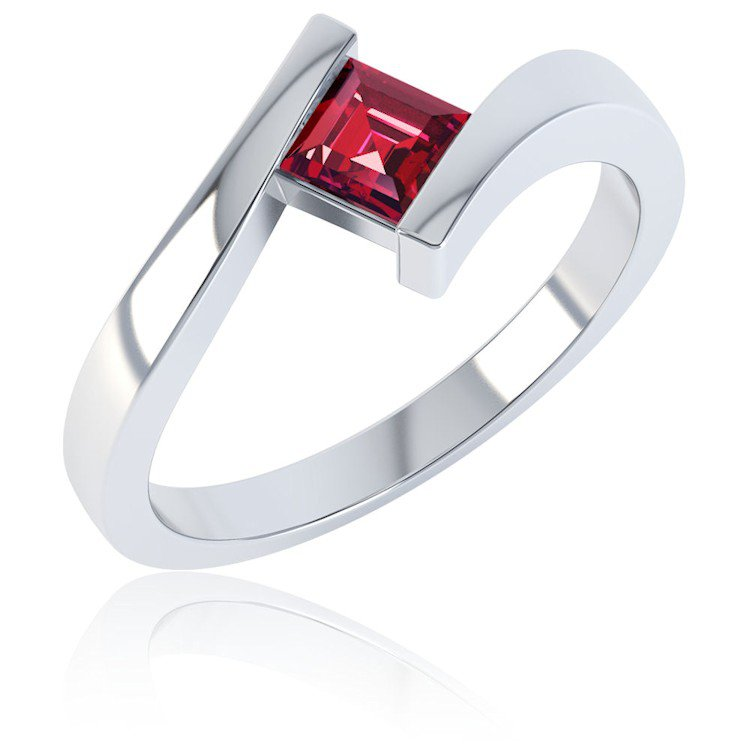 Combinations Ruby Square Stacking Silver Ring