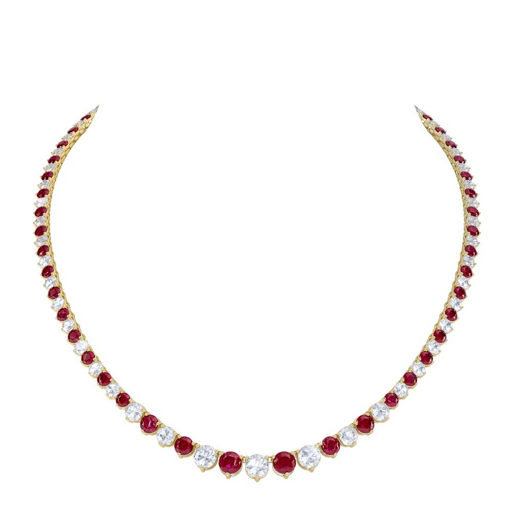 Eternity Ruby CZ 18ct Gold plated Silver Tennis Necklace