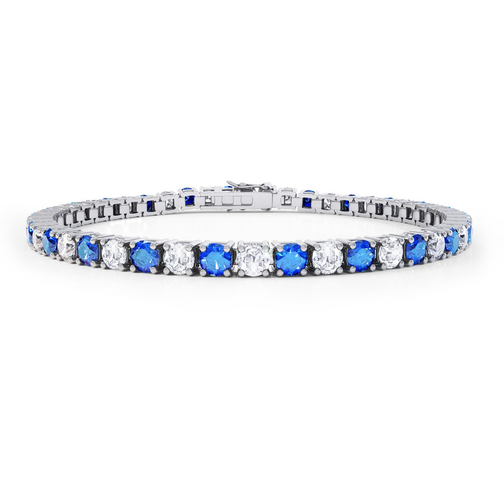 Eternity Blue and White Sapphire Platinum plated Silver Tennis Bracelet