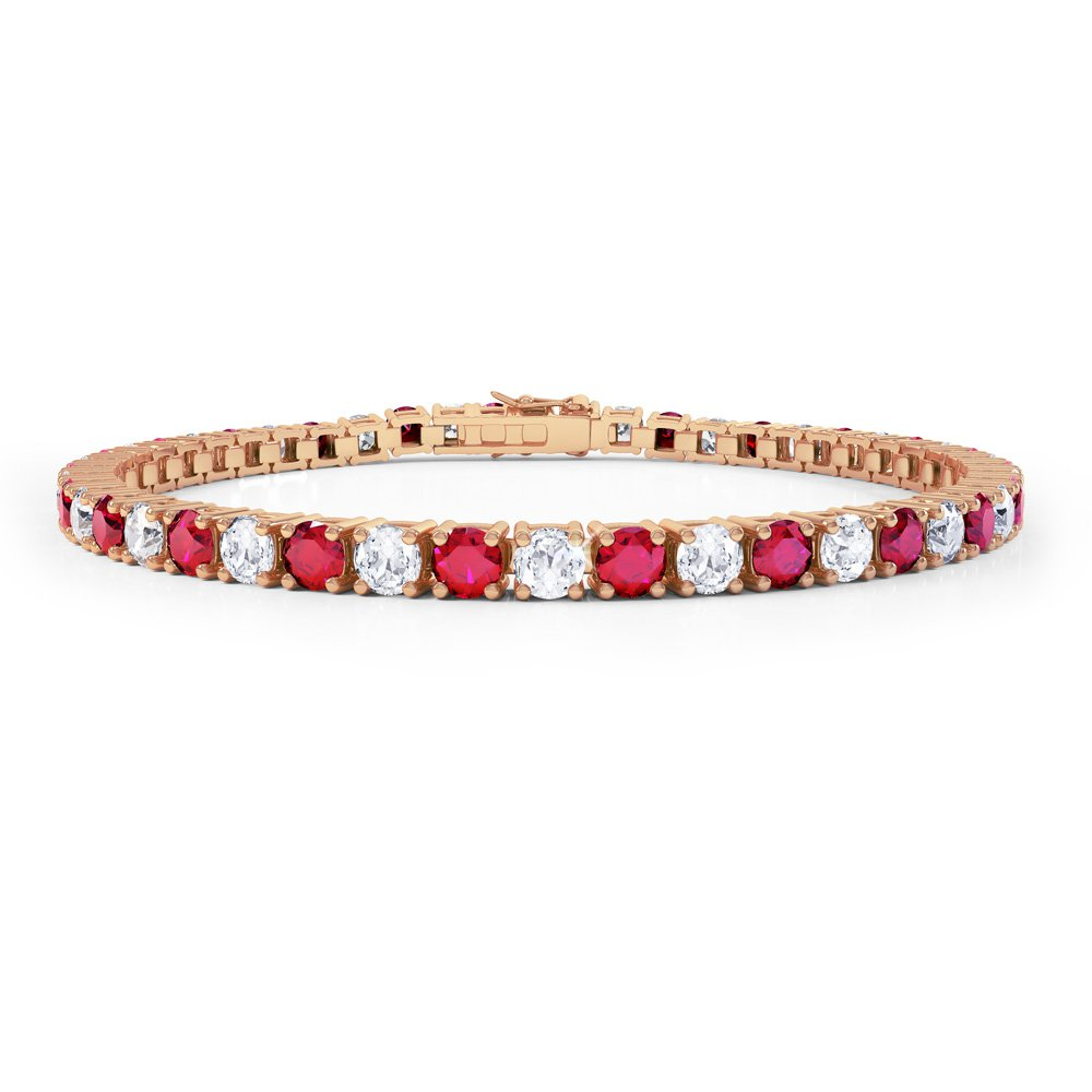 Eternity Ruby and Diamond 2.6ct GH SI 18ct Rose Gold Tennis Bracelet
