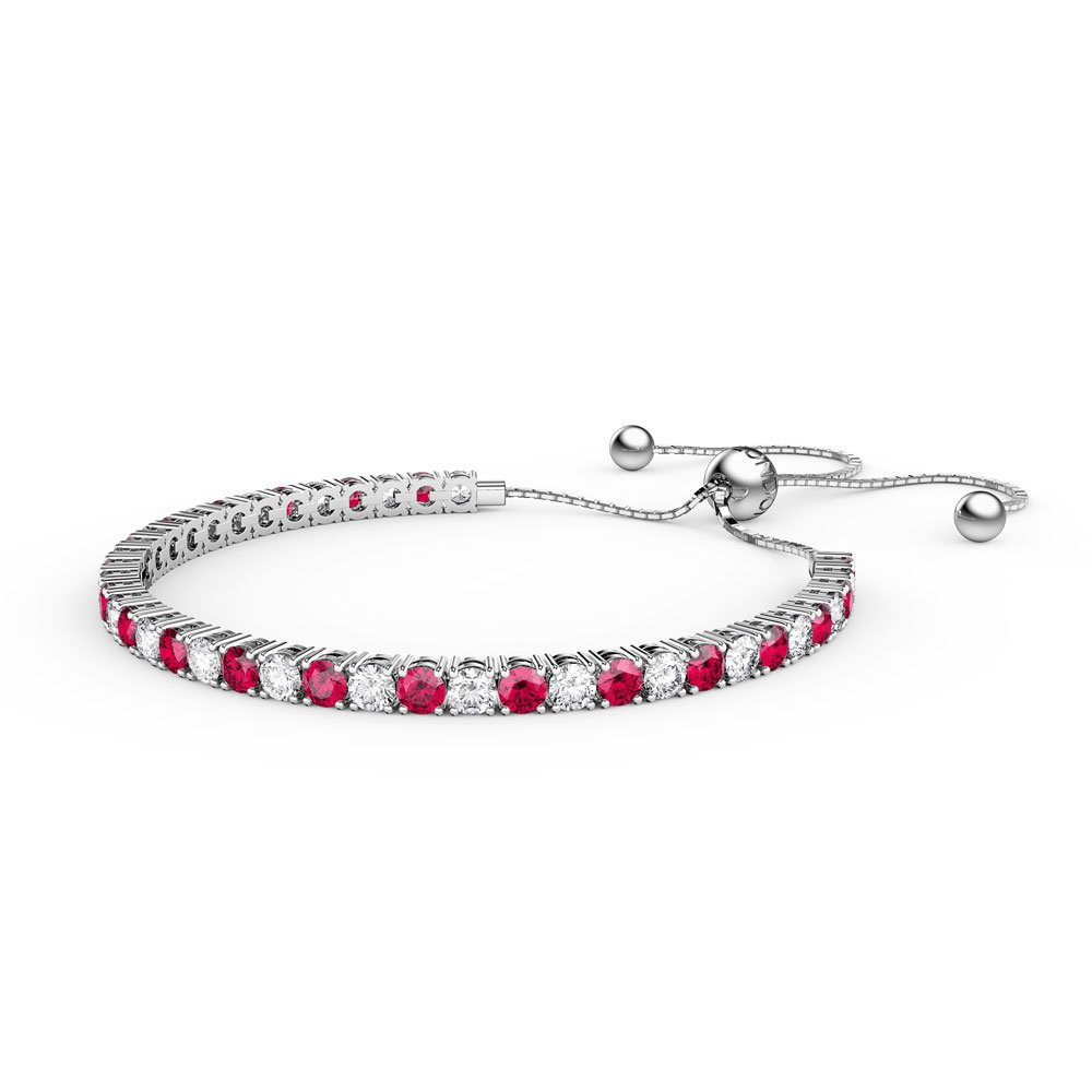 Eternity Ruby CZ Rhodium plated Silver Fiji Friendship Tennis Bracelet