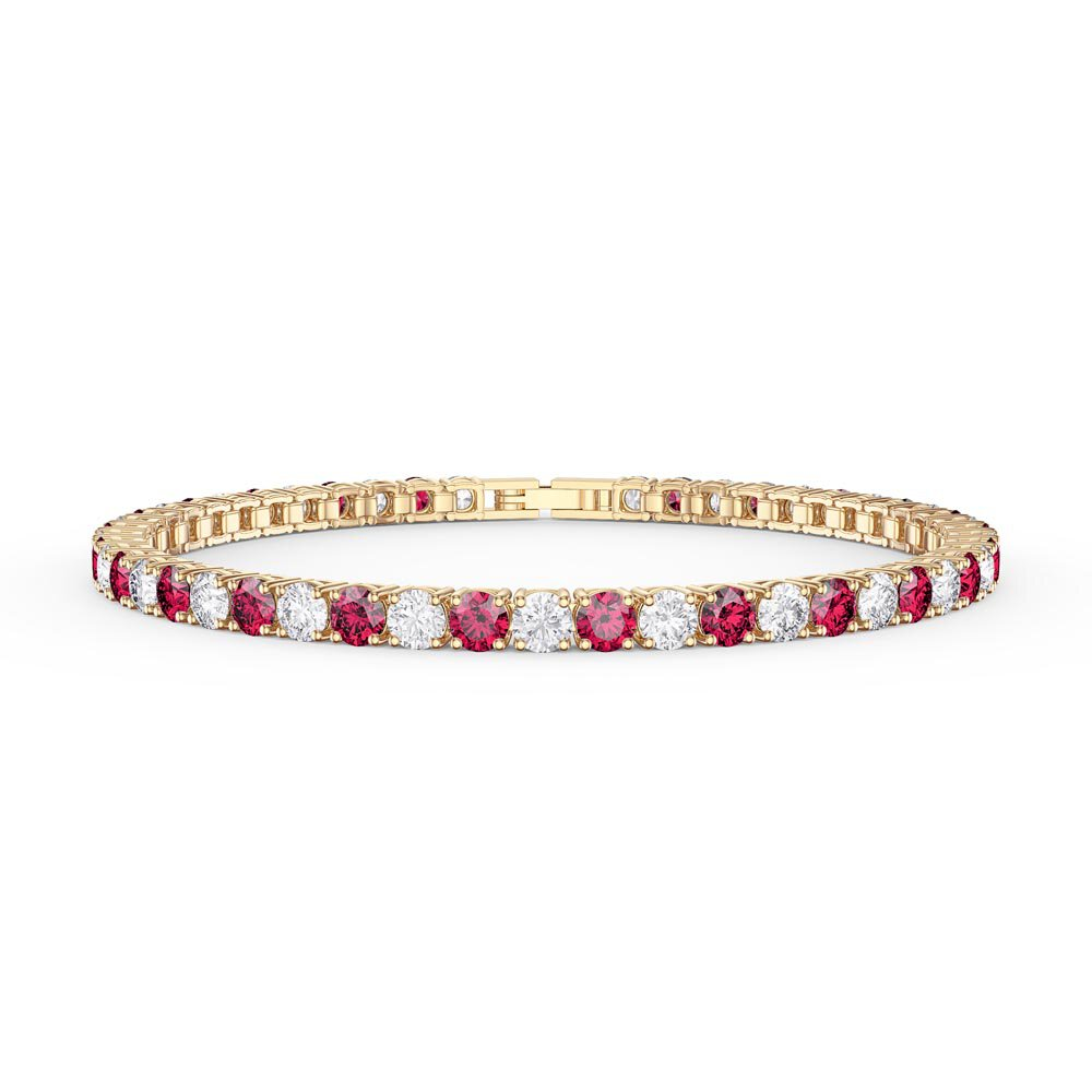 Eternity Ruby CZ 18ct Gold plated Silver Tennis Bracelet