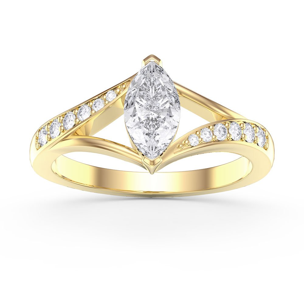 Unity 0.5ct Marquise White Sapphire 18ct Gold Vermeil Proposal Ring
