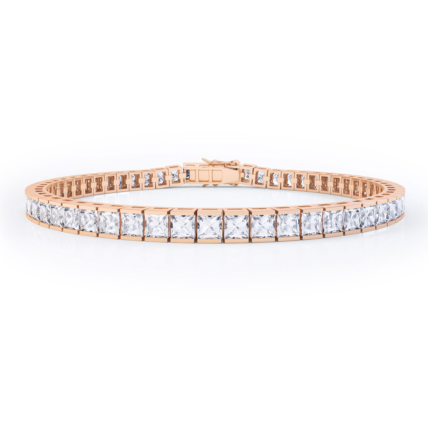 Princess White Sapphire 18ct Rose Gold Tennis Bracelet
