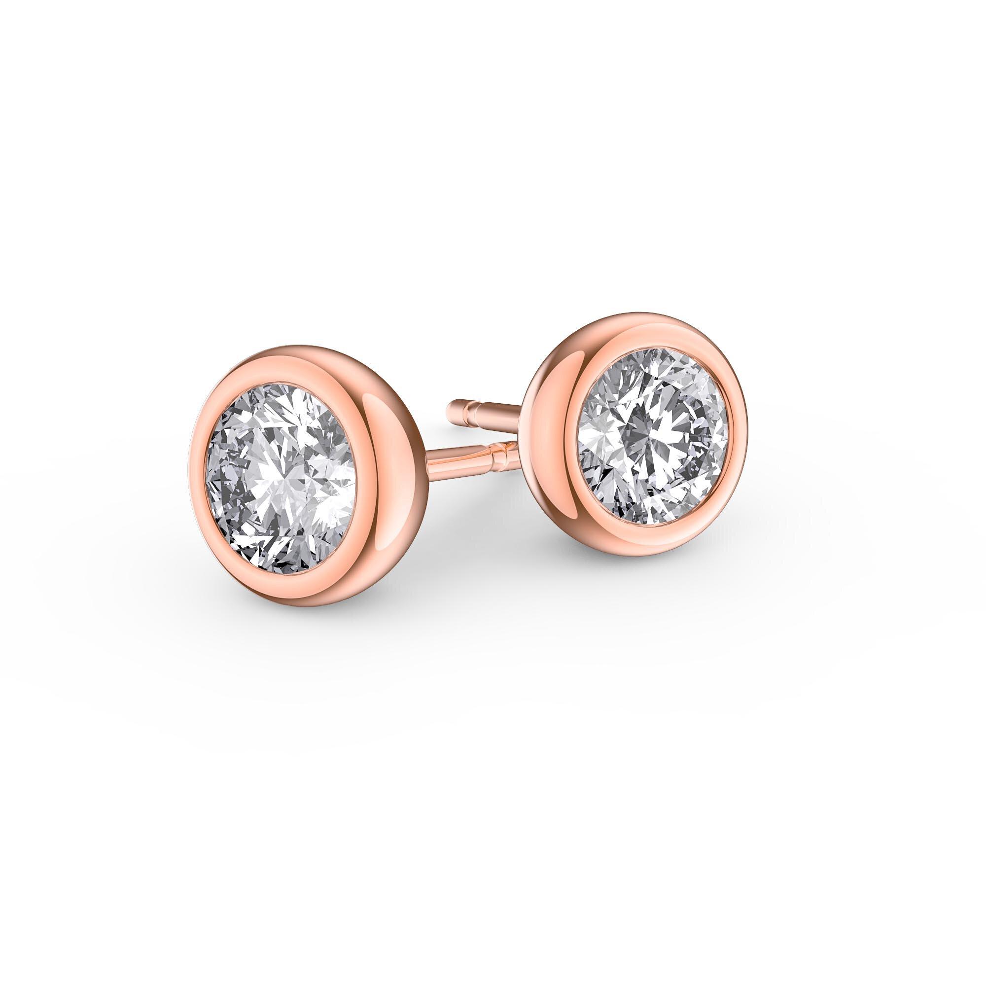 Infinity Diamond 18ct Rose Gold Stud Earrings Jian London