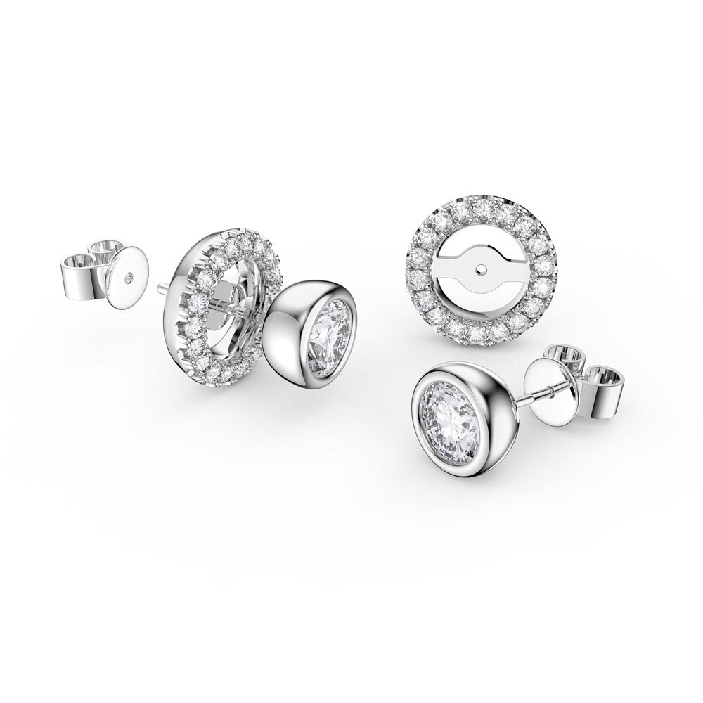 Infinity White Sapphire Platinum plated Silver Stud Earrings Halo Jacket Set