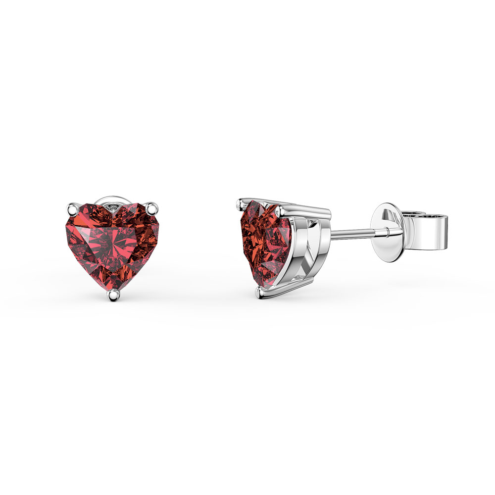 Charmisma 1ct Heart Garnet Platinum plated Silver Stud Earrings