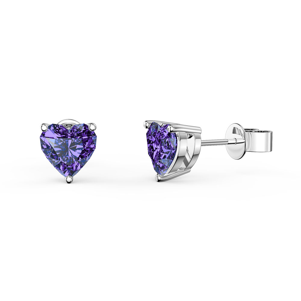 Charmisma 1ct Heart Amethyst 9ct White Gold Stud Earrings