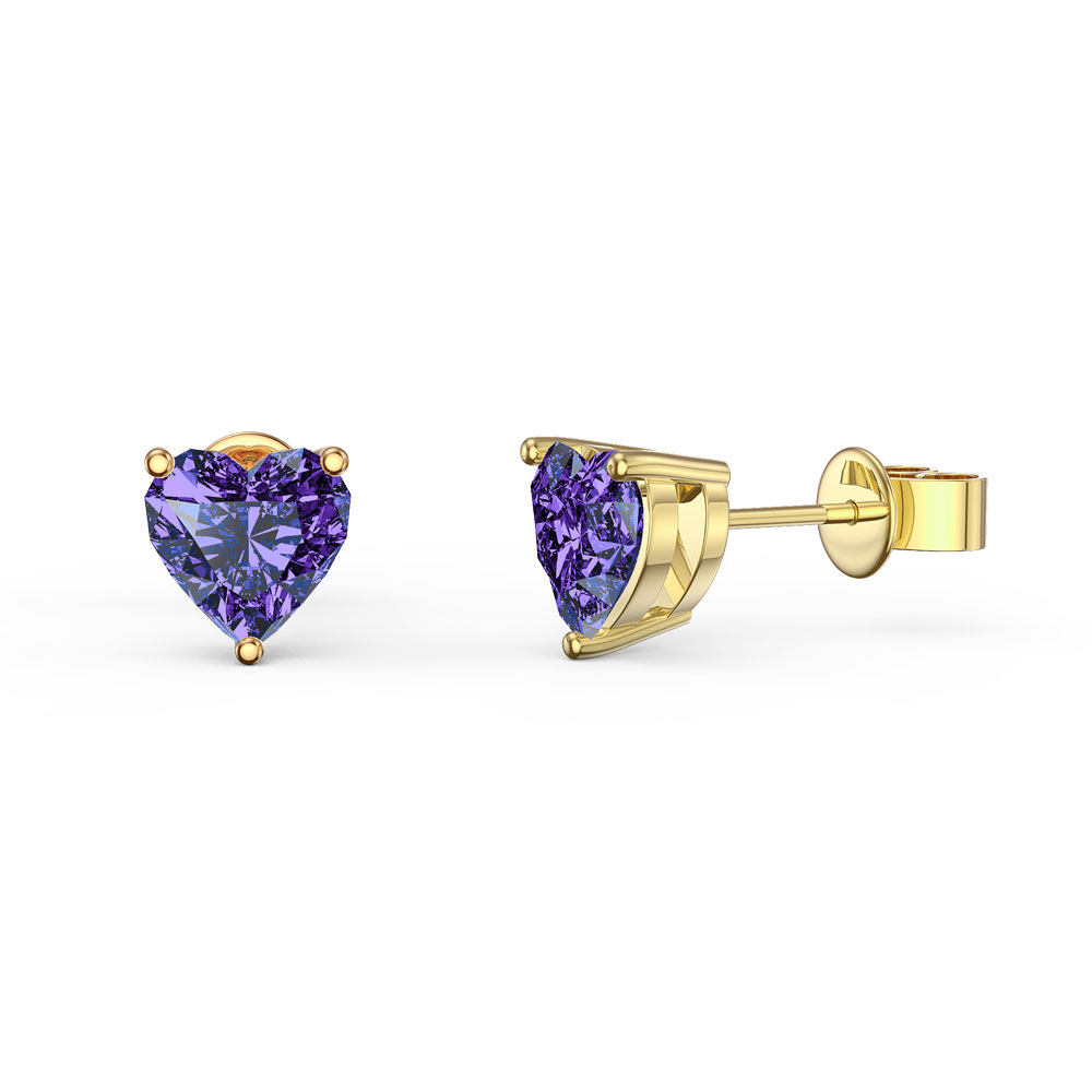 Charmisma 1ct Heart Amethyst 9ct Yellow Gold Stud Earrings