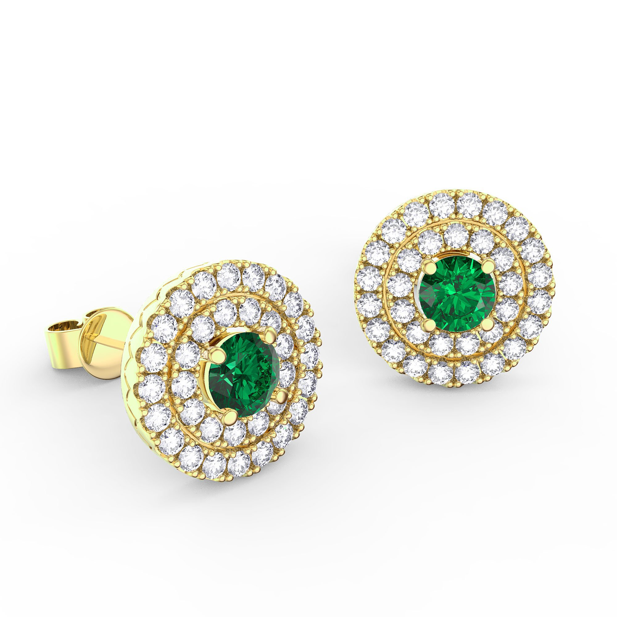 Fusion Emerald and Diamond Halo 18ct Yellow Gold Stud Earrings