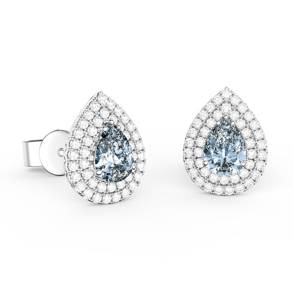 0bb859b2ce8c5 Fusion Aquamarine and Diamond Pear Halo 18ct White Gold Stud Earrings