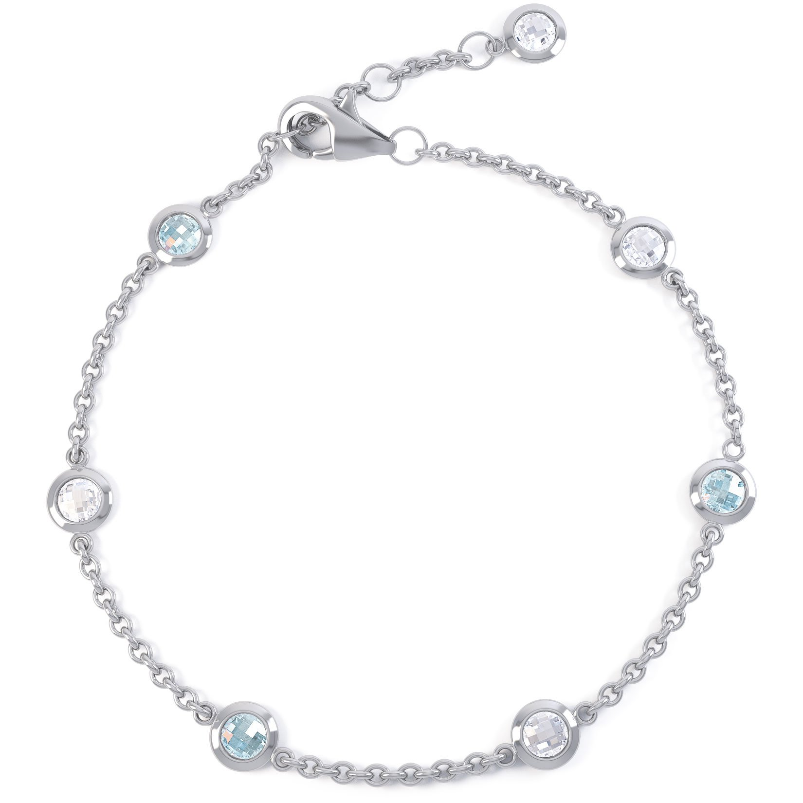 By the Yard Aquamarine and White Sapphire Platinum plated Silver Bracelet