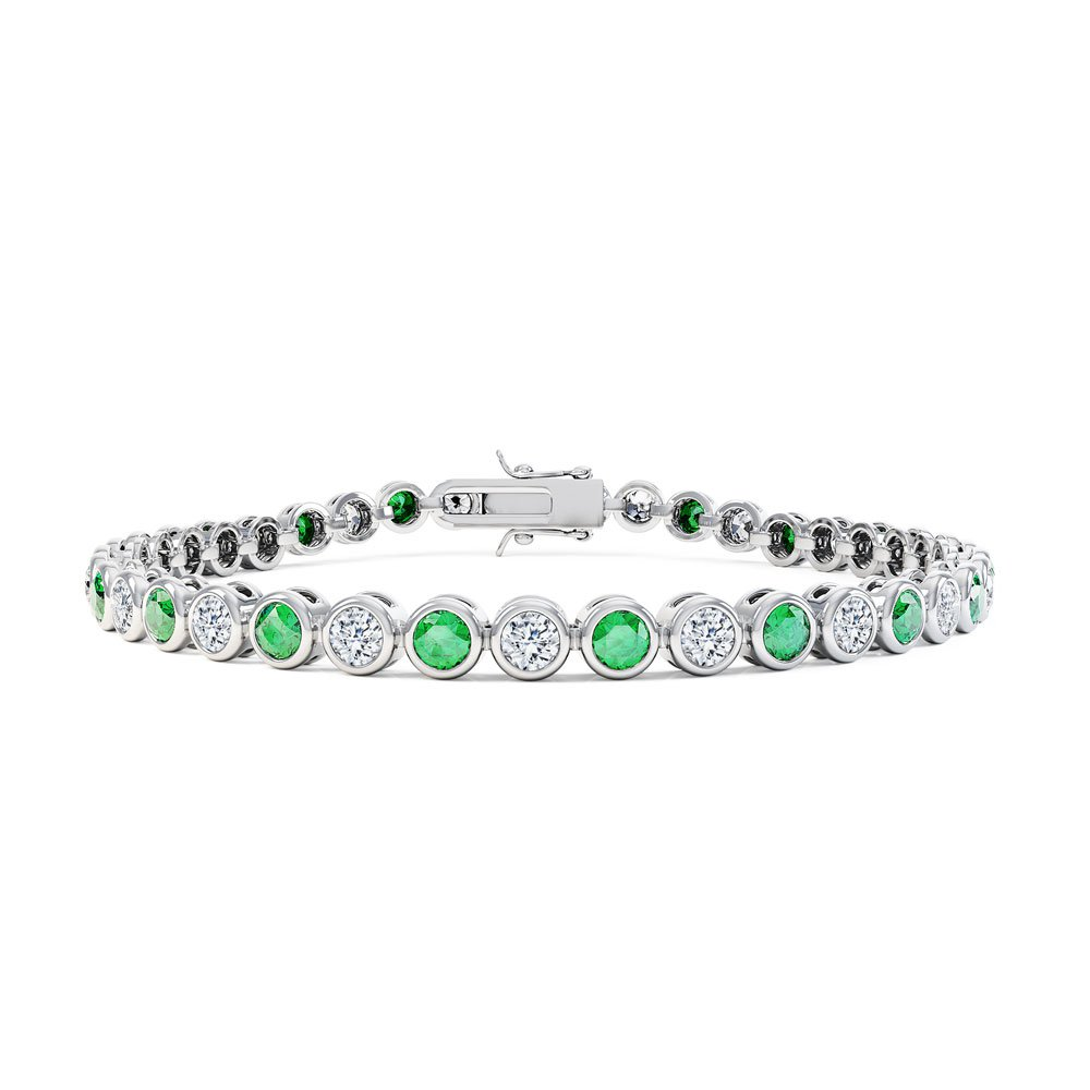 Infinity Emerald CZ Rhodium plated Silver Tennis Bracelet