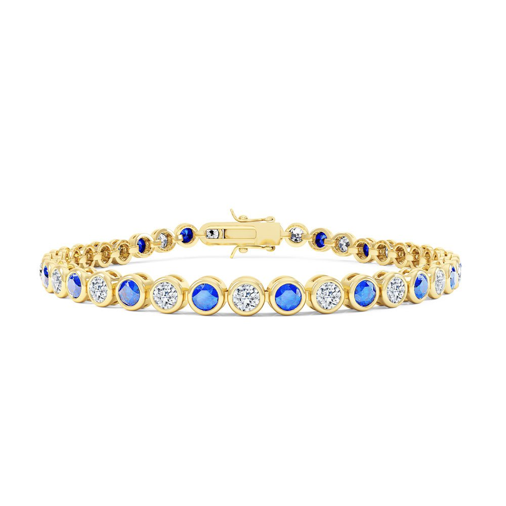 Infinity Sapphire CZ 18ct Gold finished Tennis Bracelet