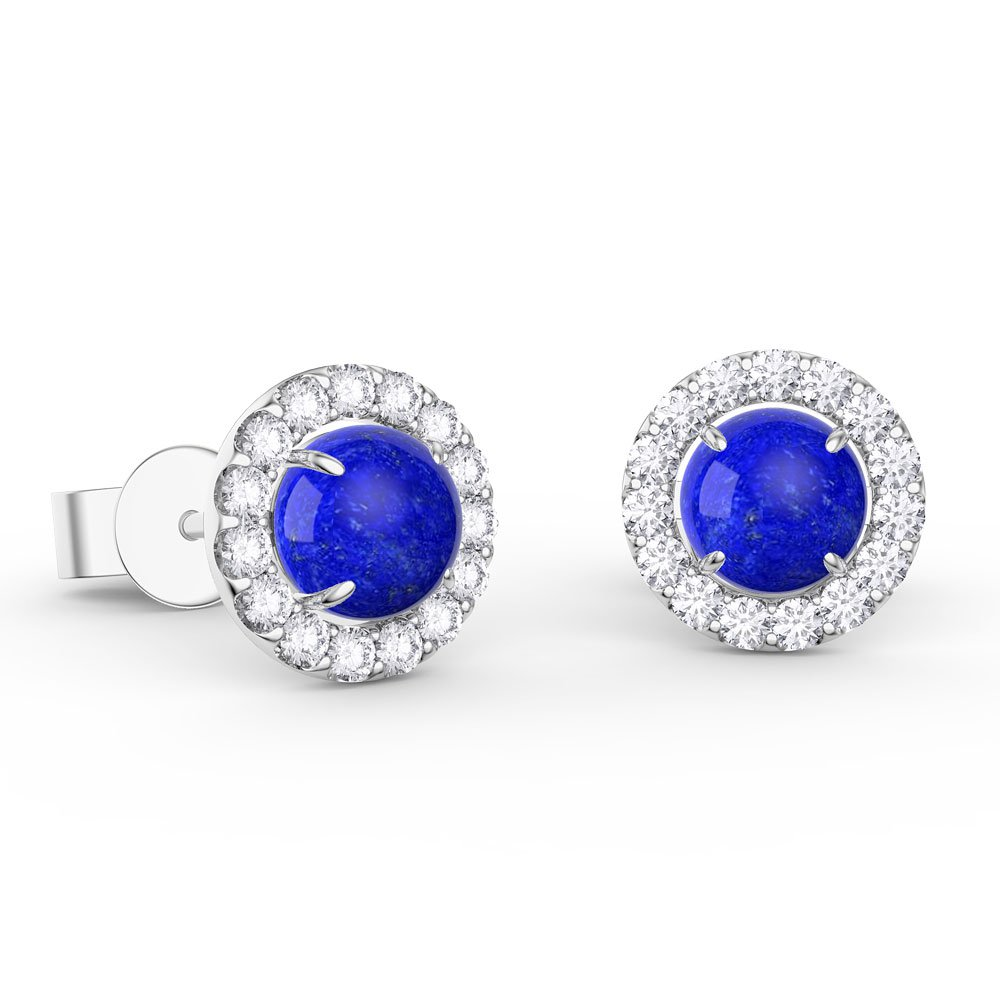 Lapis and Diamond Halo 18ct White Gold Stud Earrings