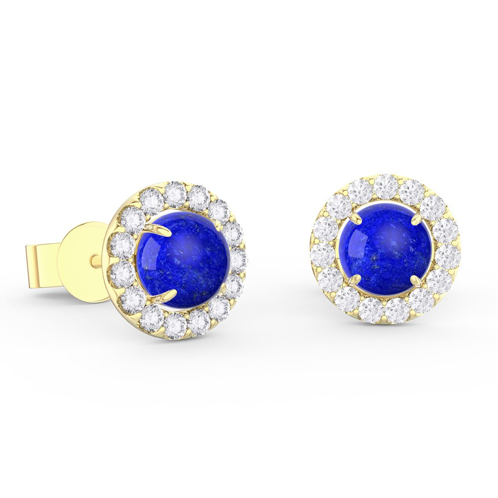 Lapis and Diamond Halo 18ct Yellow Gold Stud Earrings