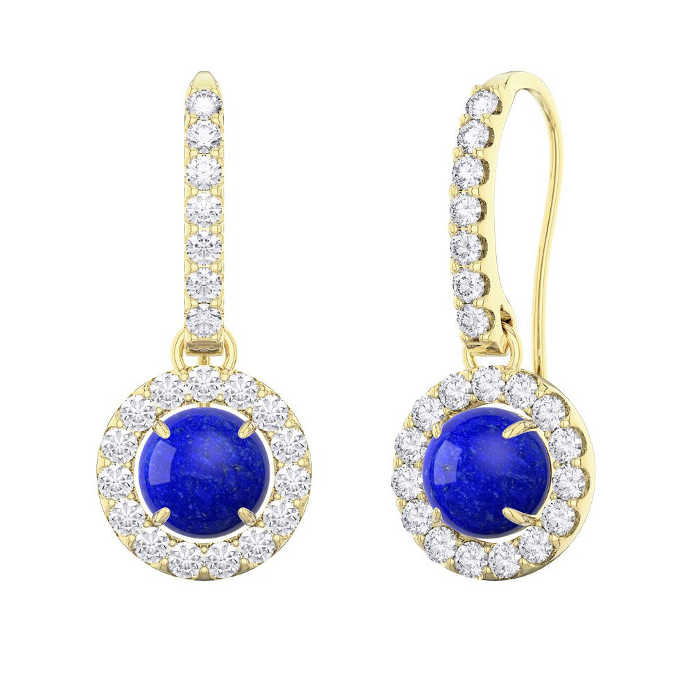 Lapis and Diamond Halo 18ct Yellow Gold Pave Drop Earrings