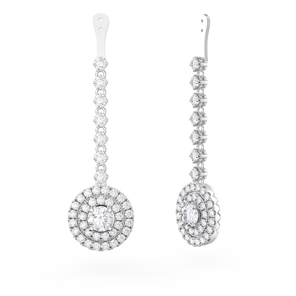 Fusion White Sapphire Halo Platinum plated Silver Earring Drops