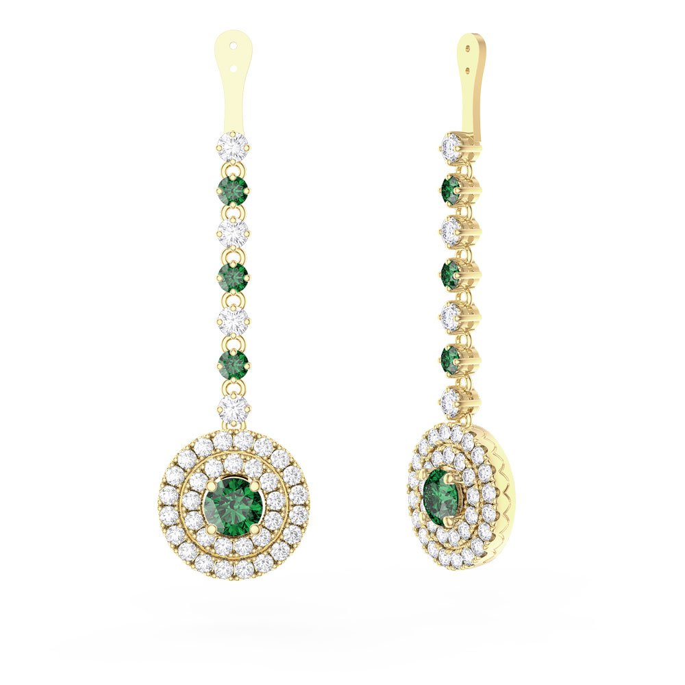 Fusion Emerald and Diamond Halo 18ct Yellow Goldl Earrings Drops