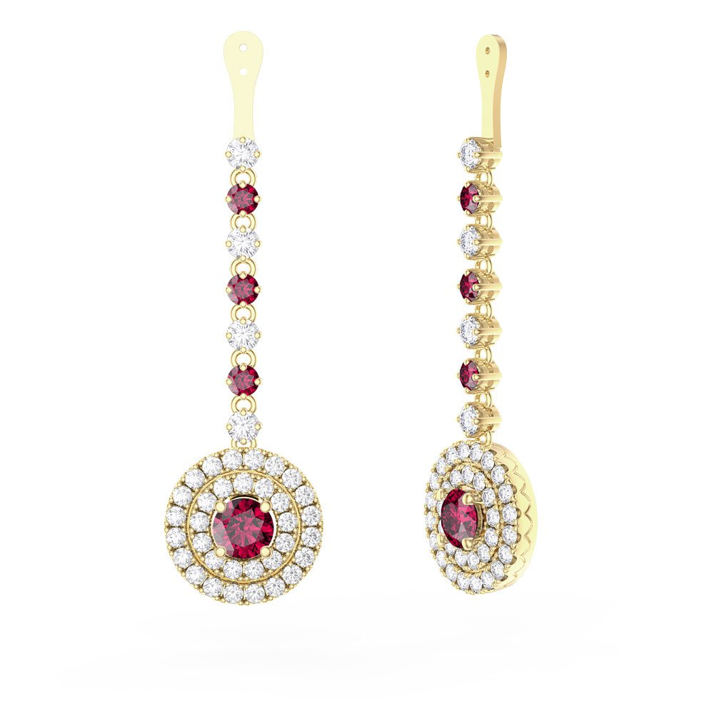 f34bfa71f494 Fusion Ruby and Diamond Halo 18ct Yellow Gold Earrings Drops. Tap to expand