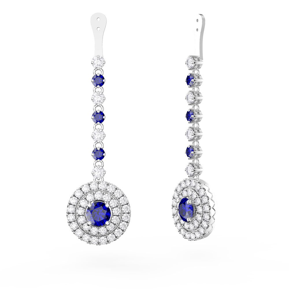 Fusion Sapphire Halo Platinum plated Silver Earrings Drops