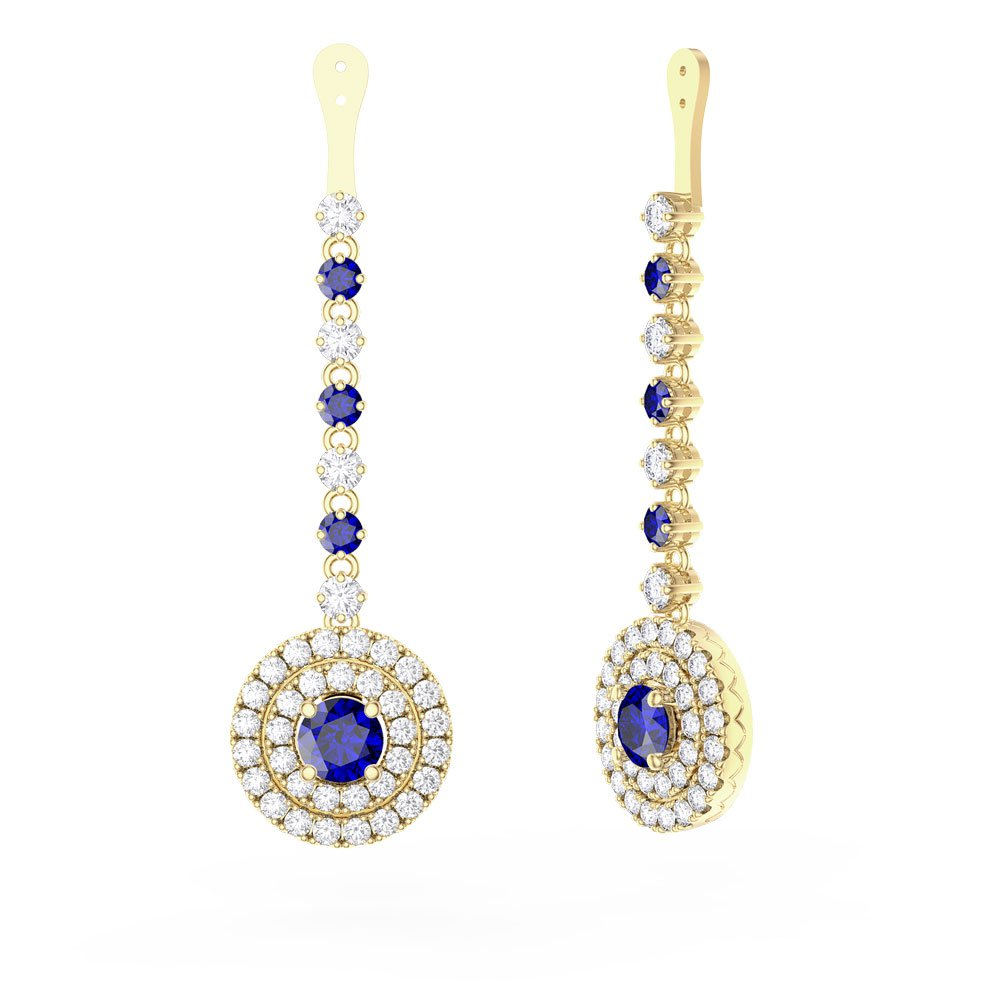 Fusion Sapphire Halo 18ct Gold Vermeil Earrings Drops