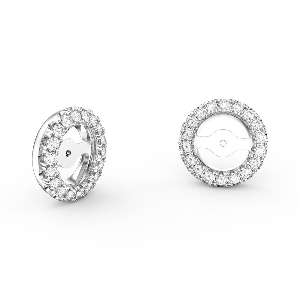 Fusion White Sapphire 18ct White Gold Earring Halo Jackets