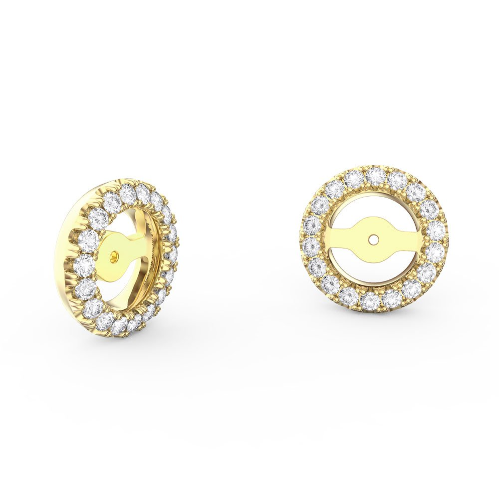 Fusion White Sapphire 18ct Yellow Gold Earring Halo Jackets