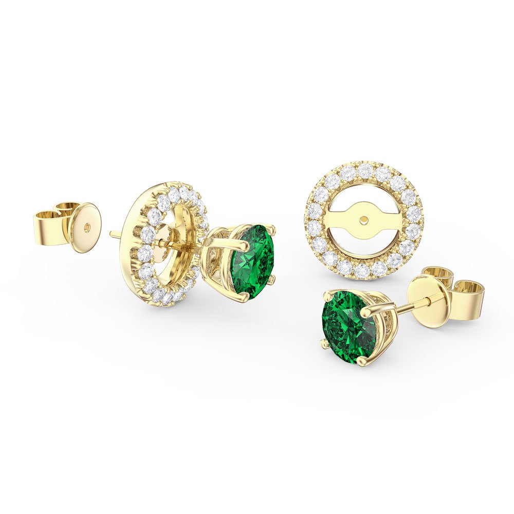 Fusion Emerald 18ct Gold Vermeil Earrings Halo Jacket Set