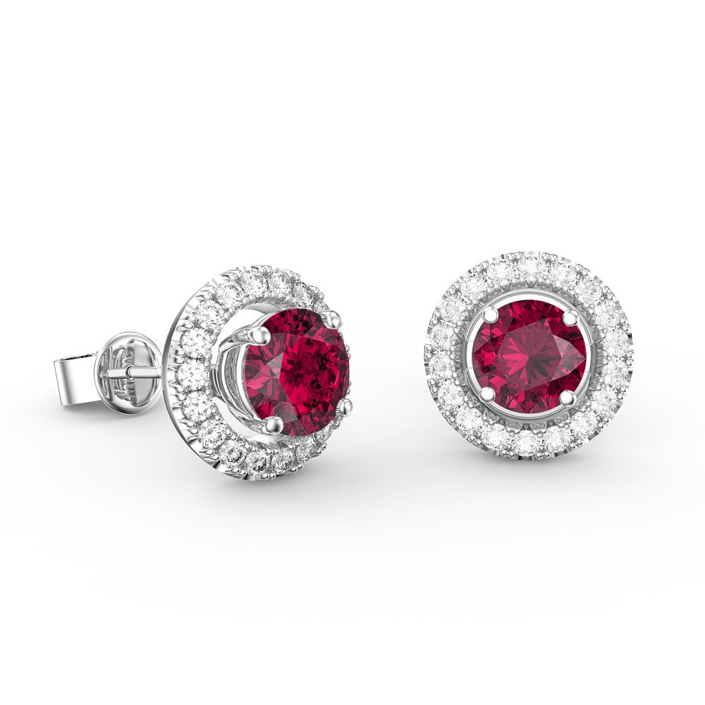 fusion ruby platinum plated silver stud earrings halo. Black Bedroom Furniture Sets. Home Design Ideas