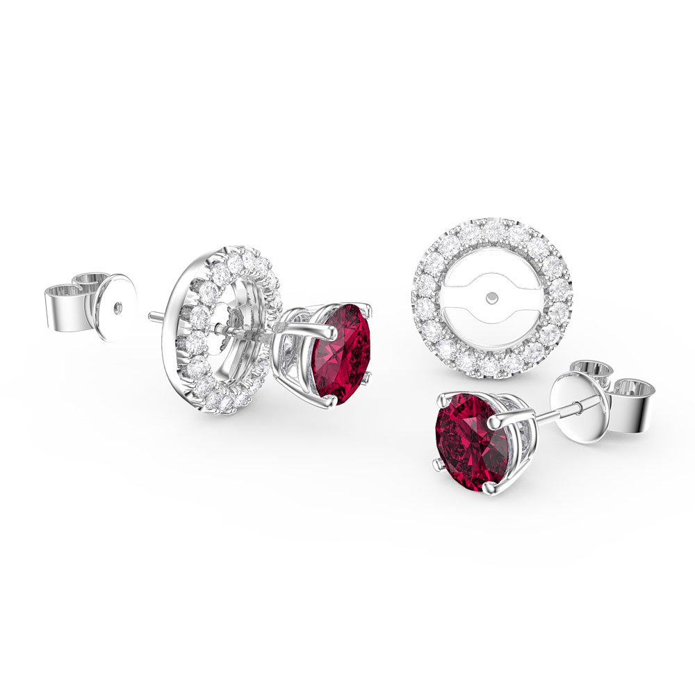 Fusion Ruby Platinum plated Silver Stud Earrings Halo Jacket Set