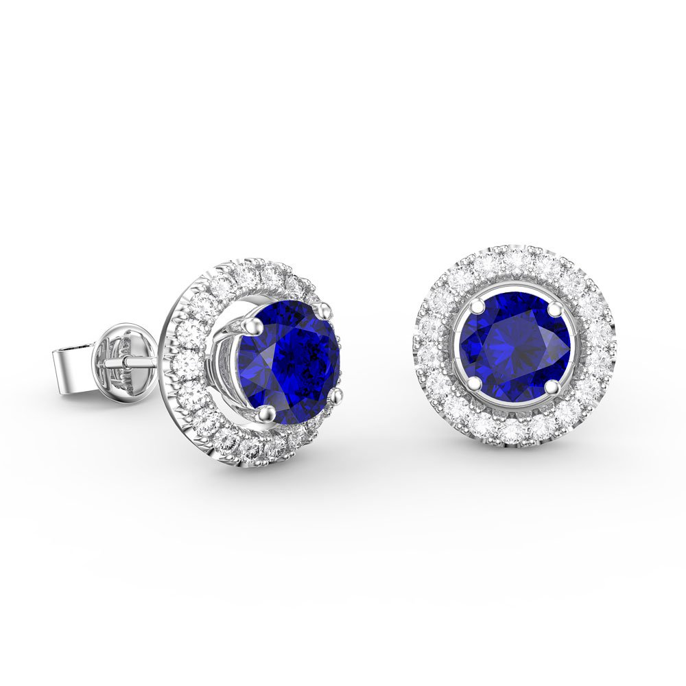Fusion Sapphire Platinum Plated Silver Stud Earrings Halo