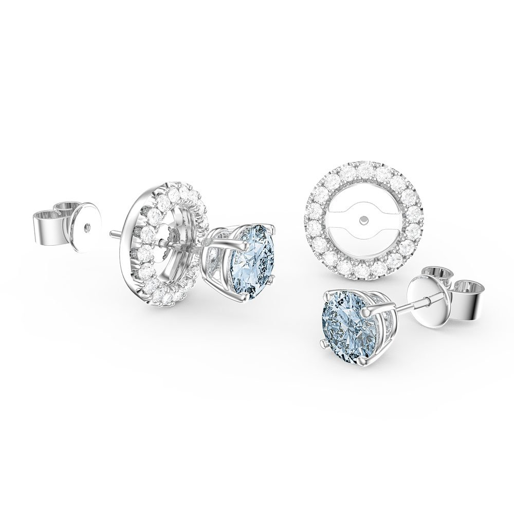trinity stud in aquamarine marine aqua earrings ctw rose gold