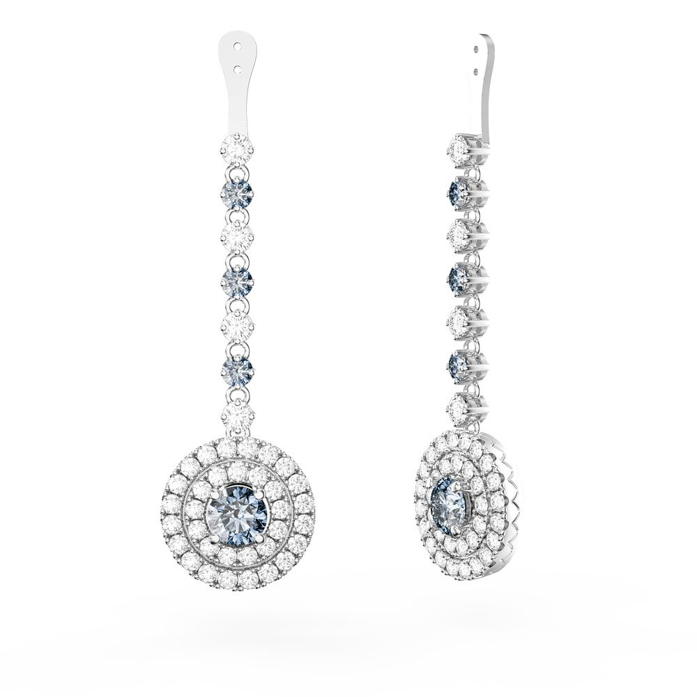 Fusion Aquamarine Halo Platinum plated Silver Earrings Drops